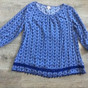 MERONA Blue Tunic Top with Crochet Trim - Large