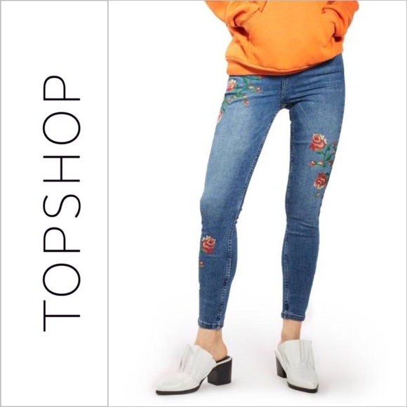 Topshop Denim - Topshop Floral Embroidered Jamie Jeans
