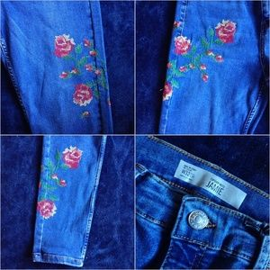 Topshop Jeans - Topshop Floral Embroidered Jamie Jeans