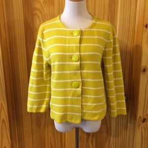J. Crew Factory Thick Yellow Striped Cardigan