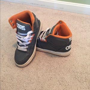 Osiris grey with orange hightop sneakers