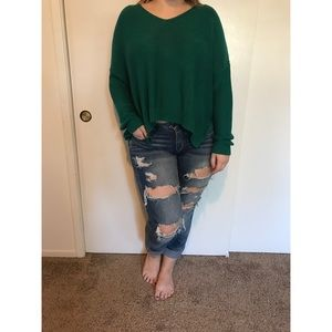 H&M Pine Cropped V-neck Sweater