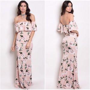 🆕 Blush Floral Off Shoulder Dress