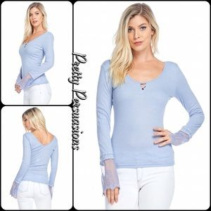 Periwinkle Bell Sleeve Lace Cuff Fitted Top