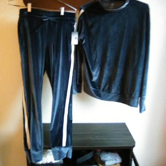 1cf249ee79f Macy s Xhiliration Blue Velour Track Suit