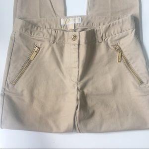 Michael Kors Khaki Pants with Gold Zipper Pockets