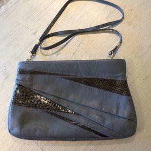 Vintage Grey Purse Handbag with Removable Strap
