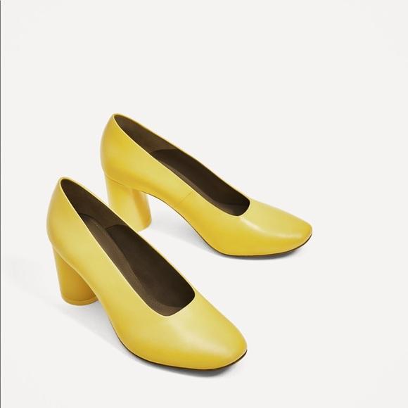 Yellow Mid Heel Shoes