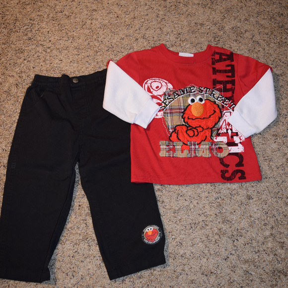 Sesame Street Matching Sets Gently Worn Toddler Boys Elmo Shirt