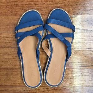 NWOT J. Crew Blue Leather Sandals