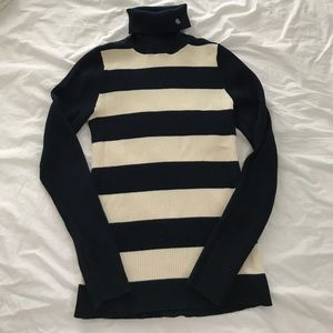 Navy Striped Cotton Turtleneck RL
