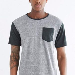 Urban Outfitters Grey & Black Contrast Pocket Tee