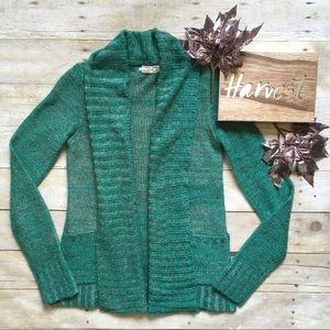 Kirra green marled open front cardigan