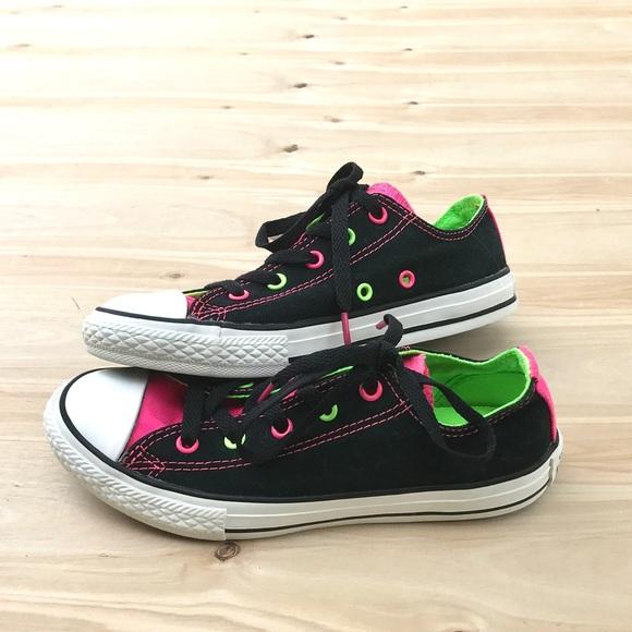 Converse Other - Black Neon Colored Converse Size 2. eae2e7e20
