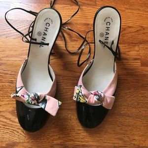 Vintage Chanel Black & Pink Leather Canvas Sandals