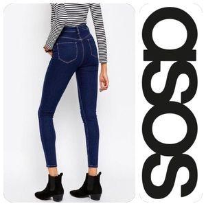 ASOS Ridley High Waist Skinny Jean in Deep Blue