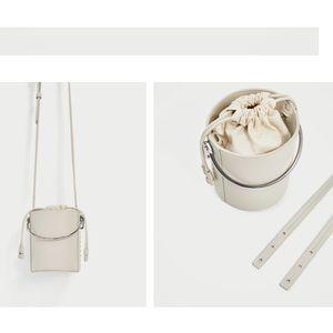 f3005f3b Zara Bags   White Crossbody W Metallic Handle Bucket Bag   Poshmark
