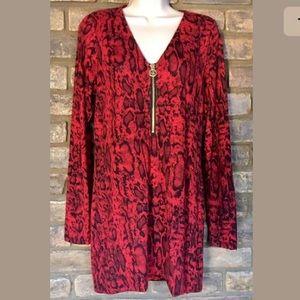 Michael Kors Red Animal Print Tunic Top Leopard