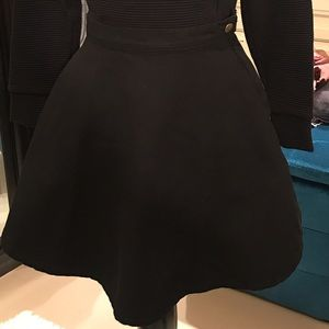 AA black denim circle skirt