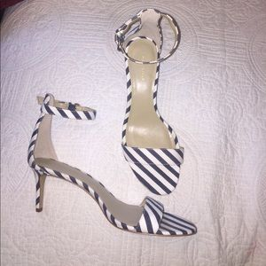 Ann Taylor striped strappy heels