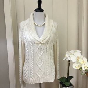 EDDIE BAUER Ivory Cotton Fisherman's Sweater