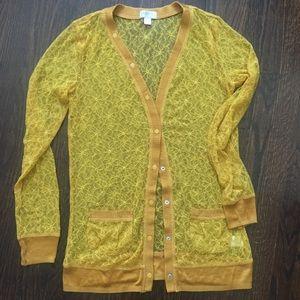Rodarte for target mustard yellow sheer cardigan