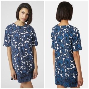 Topshop Blue Paisley Print Tunic Dress