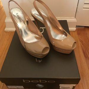 BEBE Zahara Cork shoes, nude. Size 5. Worn twice.