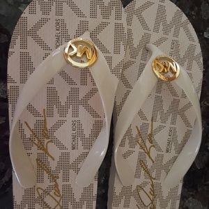 Michael Kors white and gold sandals