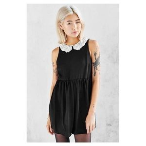 Urban Outfitters Black w/ Lace collar Romper Sz. S