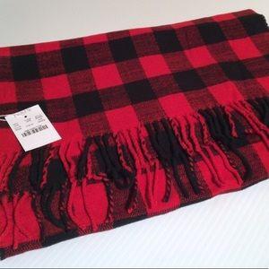 NWT J. Crew Red Buffalo Plaid Blanket Scarf