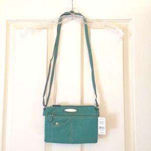 Teal green Rosetti multi-pocket cross-body purse