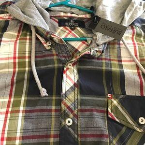 David Bitton Detachable Hood Cotton Shirt XL NWT