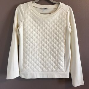 Express sweatshirt w/ faux leather quilted front