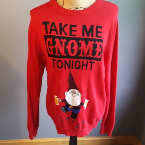 Mossimo Supply Co Sweaters Take Me Gnome Tonight Red Sweater