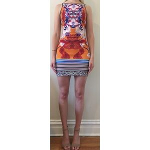 Clover Canyon multicolored body con dress.