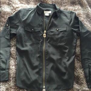 Michael Kors - olive green long sleeve zip shirt