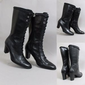 AIGNER GRANNY LEATHER STEAMPUNK LACE UP BOOTS
