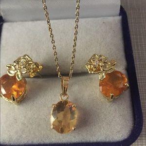 Jewelry - Pretty citrine and yellow Quartz set