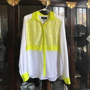 Yellow & White blouse from Target x Prabal Gurung