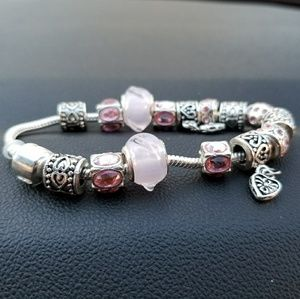 Jewelry - Pink & Silver European Charm Bracelet