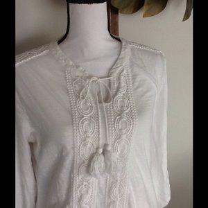 Adiva boho nubby cotton 3/4 sleeve knit top
