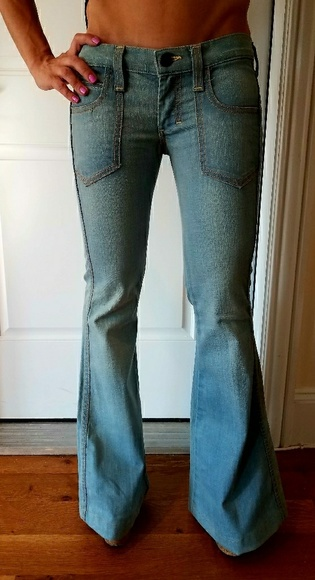 picked up latest design new Frankie B ultra low rise flare jeans