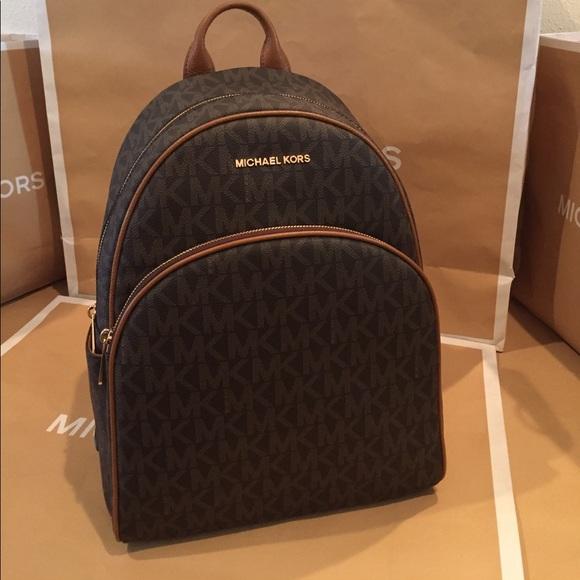 cb9e42be30b1 Michael Kors Bags | Abbey Large Backpack Brownacorn | Poshmark