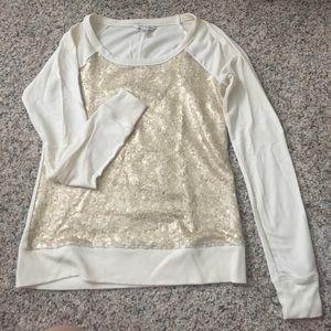 Cream and gold sequined sweatshirt