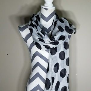 Accessories - BLACK AND WHITE POLKA DOT SCARF