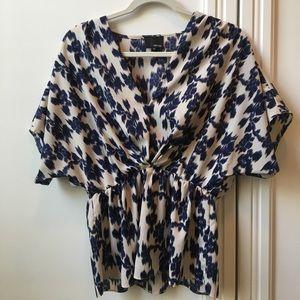 Cream and blue kimono style blouse
