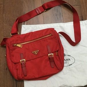 AUTHENTIC PRADA RED NYLON CROSSBODY
