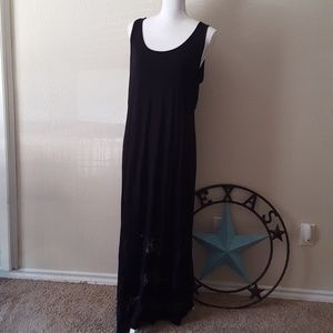 NY Collection Crocheted Lace Maxi Dress