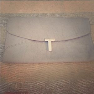 "TED BAKER ""Jamun"" Powder Blue Cow Hair Clutch"